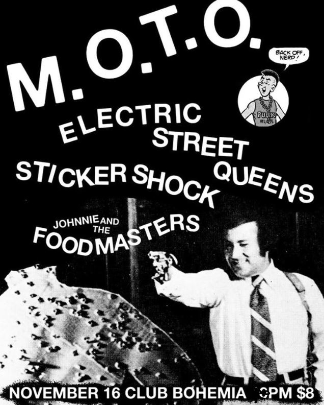 NOV. 16 – KLYAM Presents MOTO, Sticker Shock, Electric Street Queens, Johnnie & The Foodmasters @ Club Bohemia